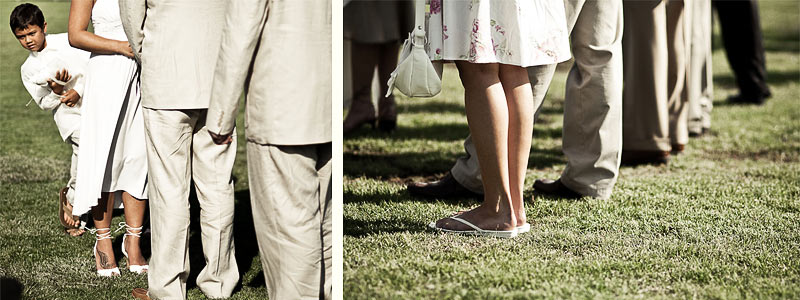 Nosy Boy during Wedding Ceremony, Detail of Beautiful Legs, Santa Barbara