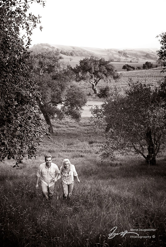 Engagement shoot in the Santa Ynez Valley, couple walking hand-in-hand.