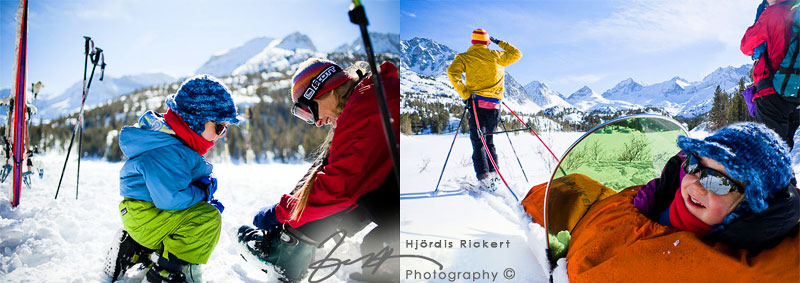 boy helping with ski boots, ski-touring in Rock Creek, Sierra Nevada