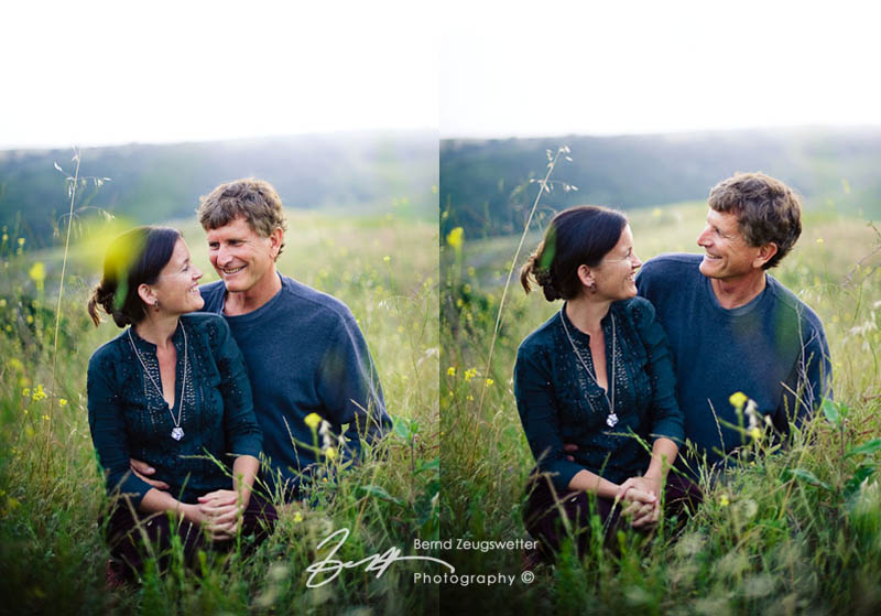 Portrait of couple in meadow.