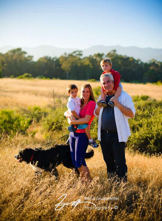 Portrait of famliy of 4 with their dog, Santa Barbara.