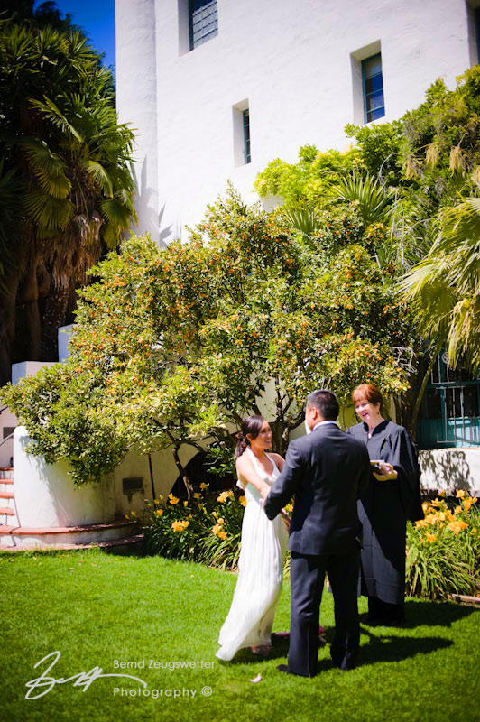 Wedding ceremony in the Sunken Gardens of the Santa Barbara Courthouse.