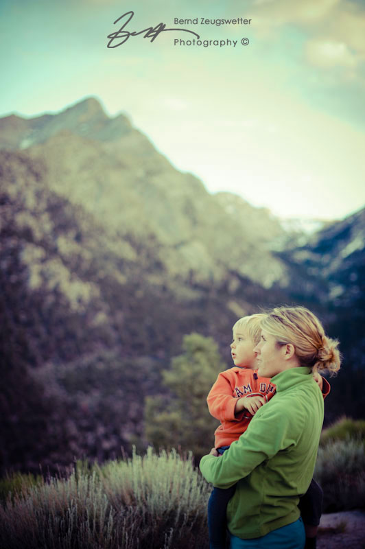 Mother and Child in mountains.