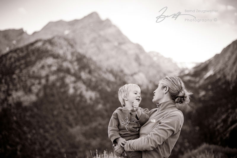 Portrait of mother and child in the Sierra Mountains.