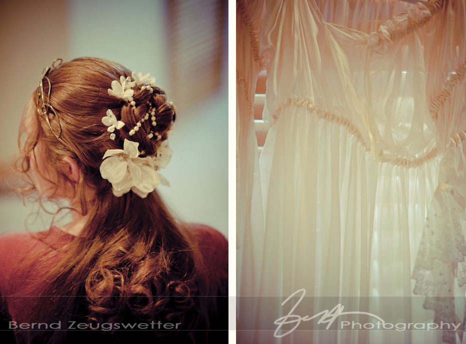 Detail of the Brides hair and detail of wedding dress.