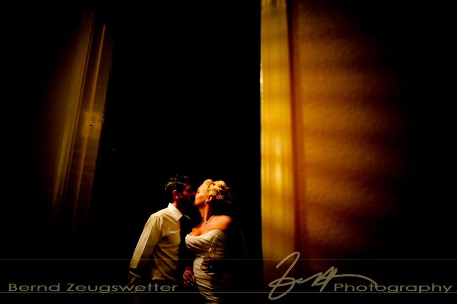 Creative wedding photography - bride and groom kissing, Sycamore Springs Resort