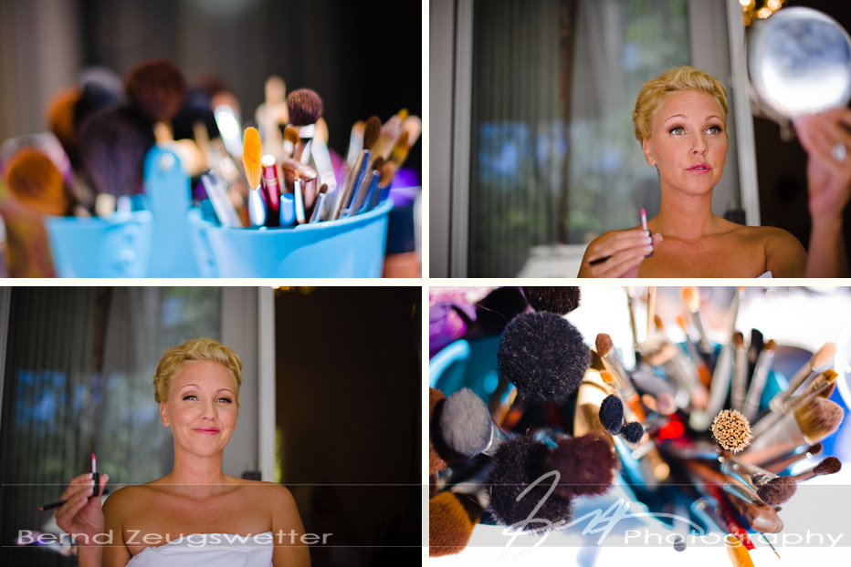 Photos of bride doing her make-up and details of make-up brushes.