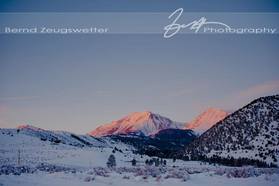 Sunrise on snowy mountains above Mono Lake, Lee Vining.