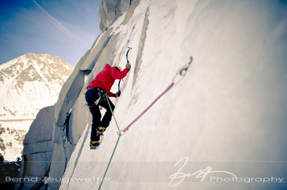 Ice climber on main wall at Lee Vining canyon.