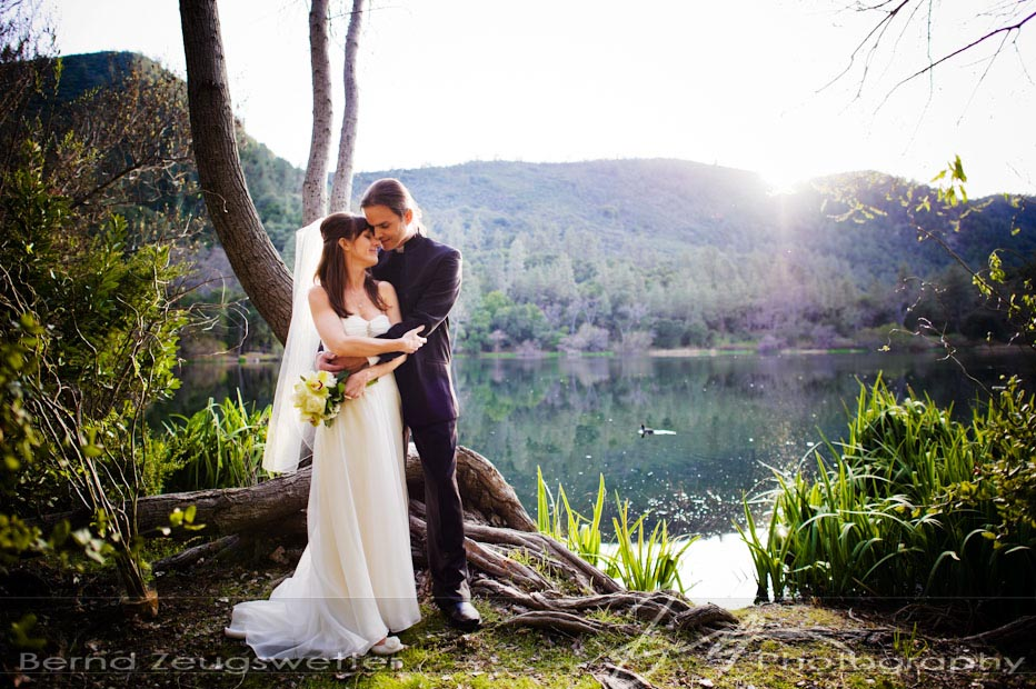 Newly wed couple at the edge of Zaca Lake, Santa Barbara County.