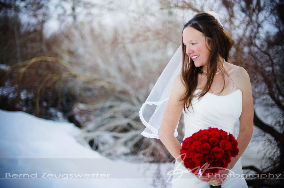 Portrait of bride in the snow at Convict Lake Resort, Eastern Sierra.