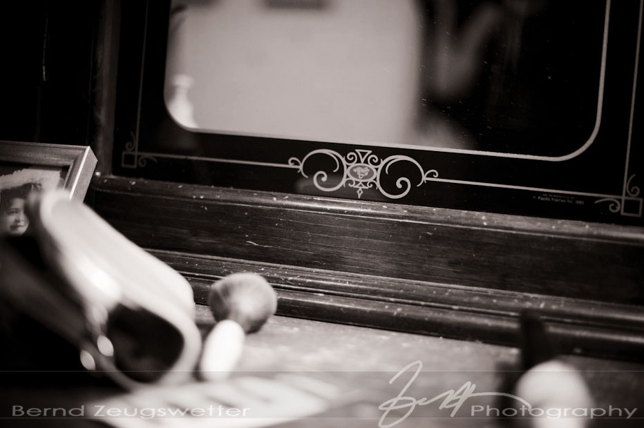 Detail of mirror, Zaca Lake wedding, by Santa Barbara wedding photographer.