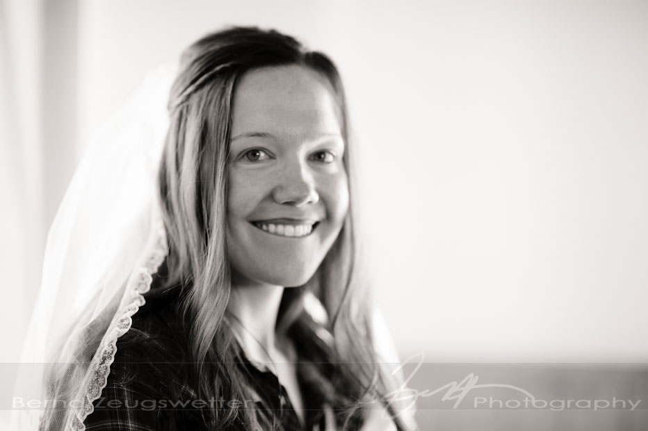 Portrait of smiling bride.