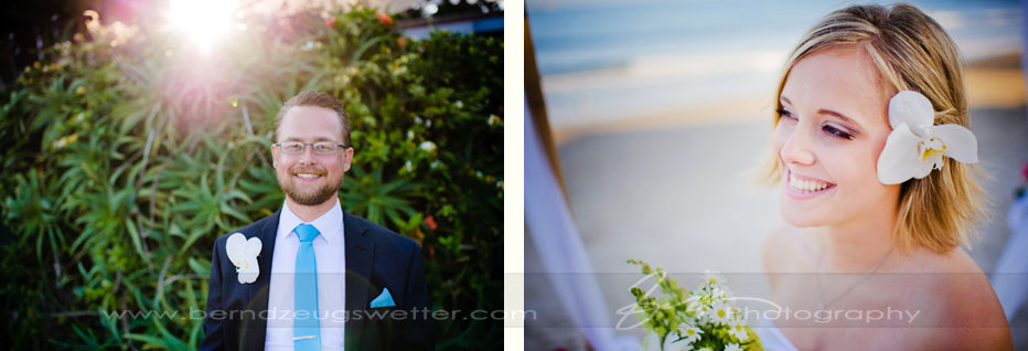Portraits of groom and bride, Rincon Point, Santa Barbara.