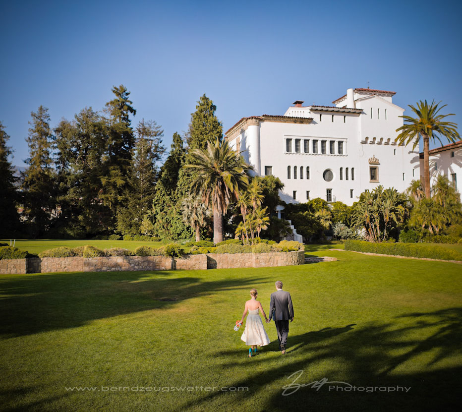 Bride and groom in the Sunken Gardens, Santa Barbara Courthouse wedding.