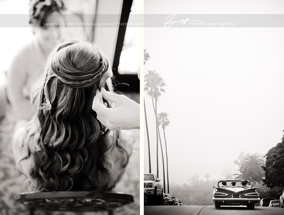 Bride having her hair done, Montecito. Vintage car driving along Cabrillo Blvd.