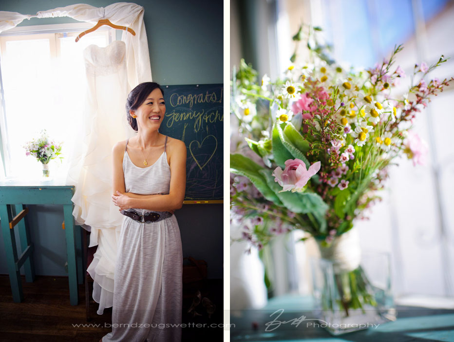Bride at Santa Barbara Museum of Natural History with dress and bouquet