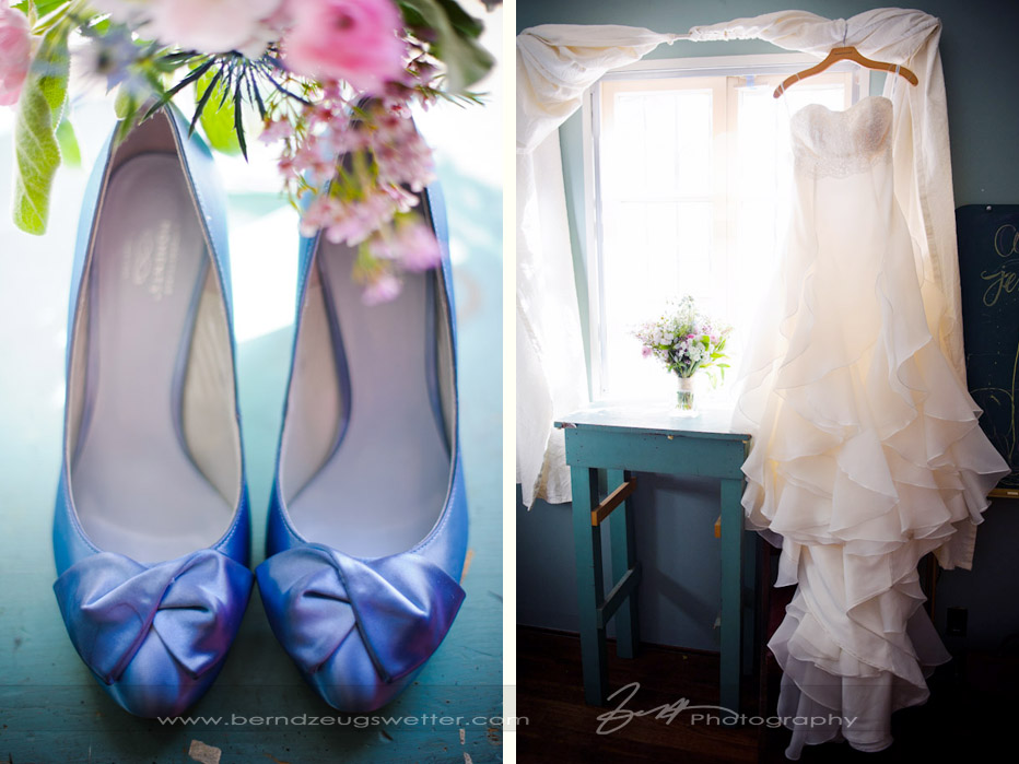 Wedding details of shoes and dress, Santa Barbara Museum of Natural History