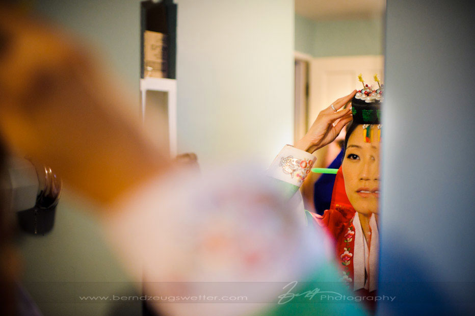 Bride getting ready for Korean Tea Ceremony, Santa Barbara wedding photographer.