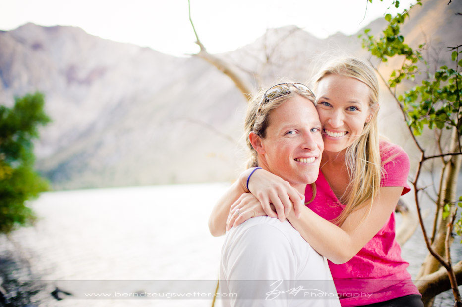 Engagement portrait, Convict Lake, Eastern Sierra wedding photographer.
