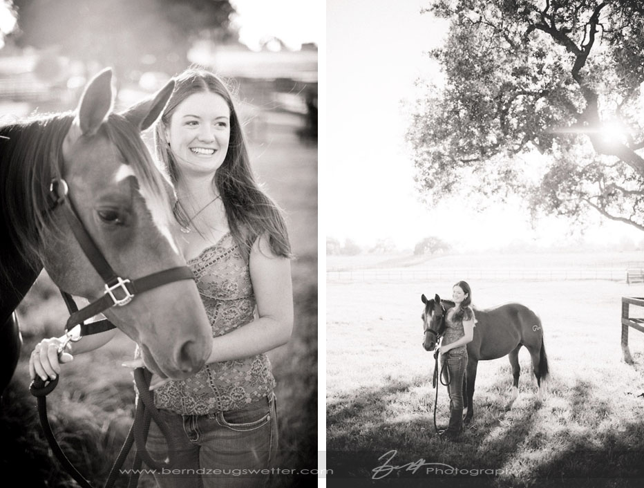 Portrait of young woman and horse, Santa Ynez Valley.
