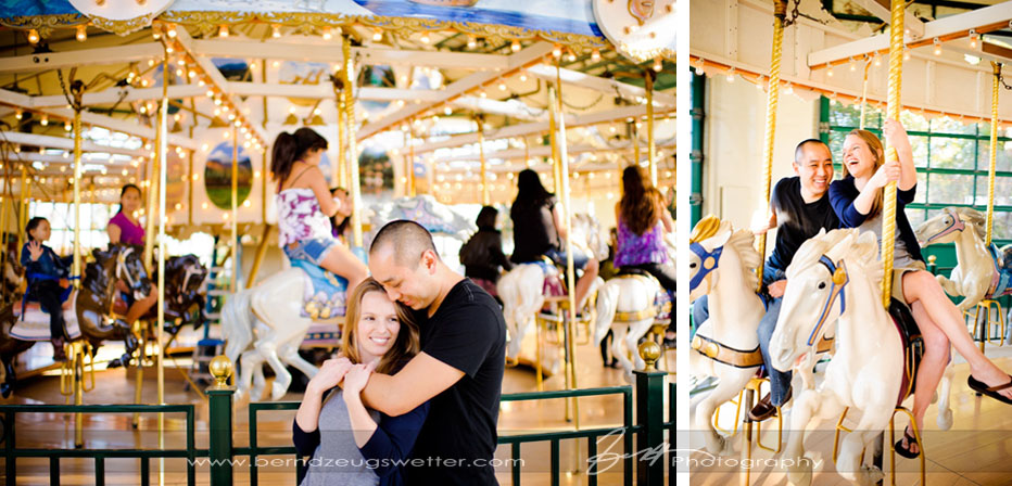 Engagement photos at Chase Palm Park Carousel.