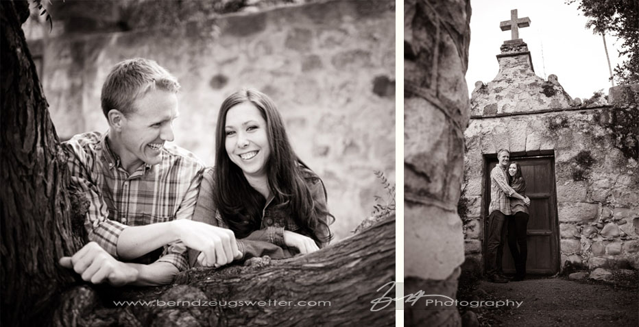 Engagement portraits at Santa Barbara Mission.