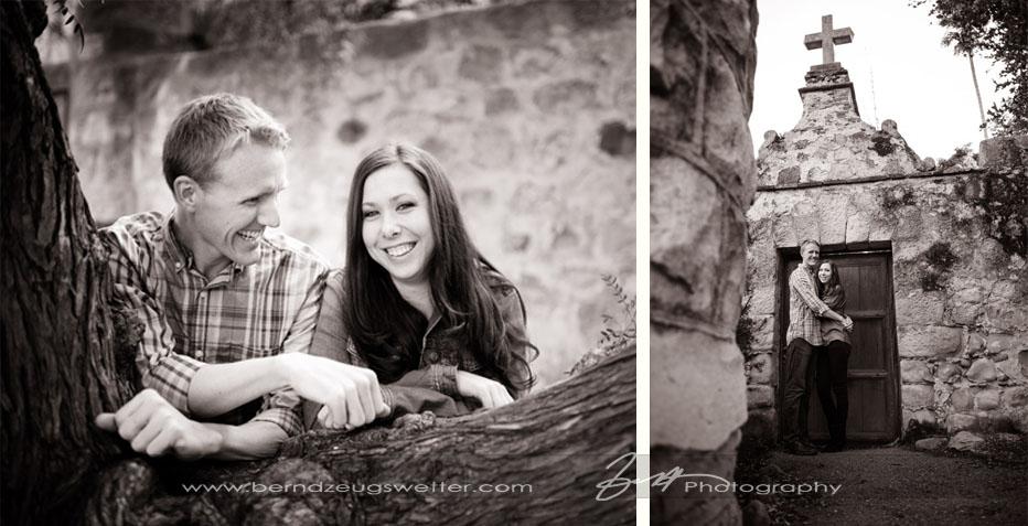 Engagement portraits at Santa Barbara Mission.