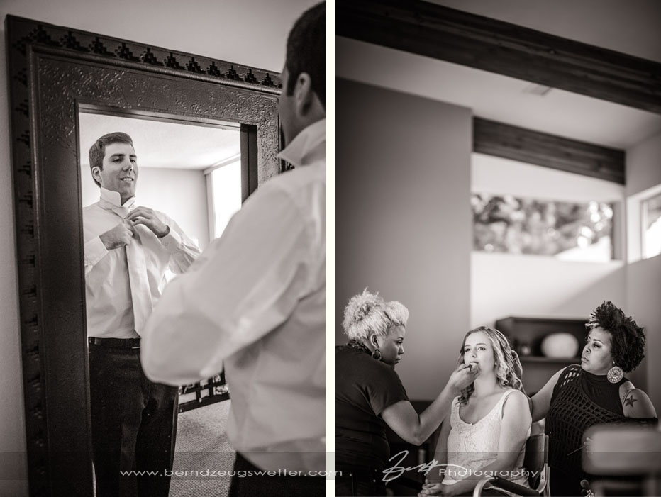 Groom and bride getting ready, Santa Barbara wedding.