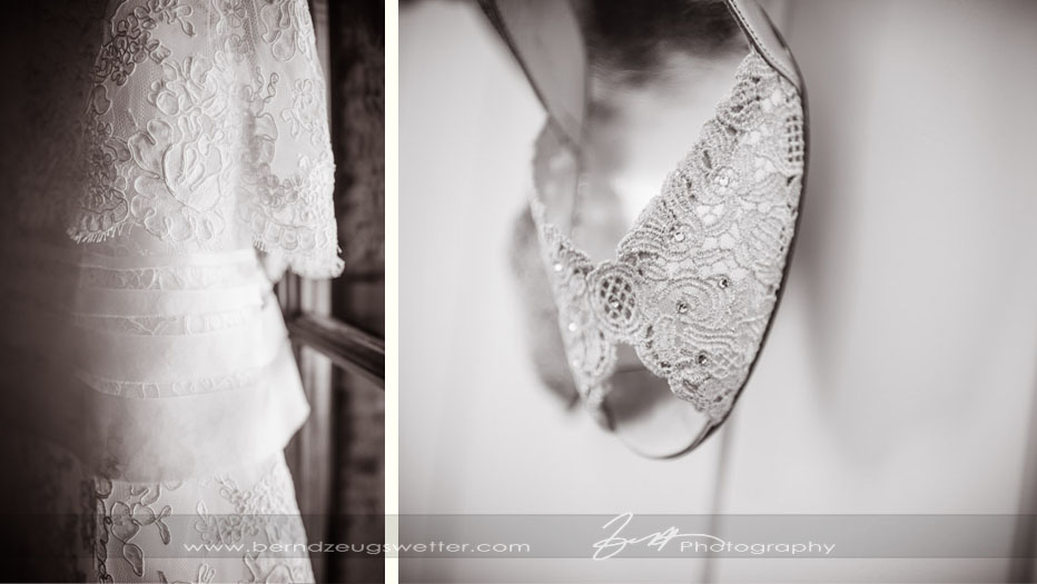 Detail of wedding dress and shoe.