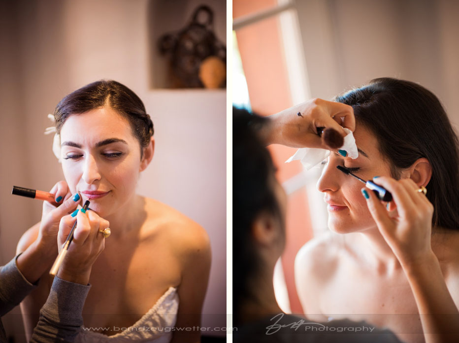 Bride having make-up done.