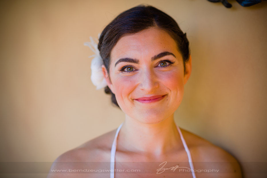 Portrait of smiling bride, Santa Barbara.