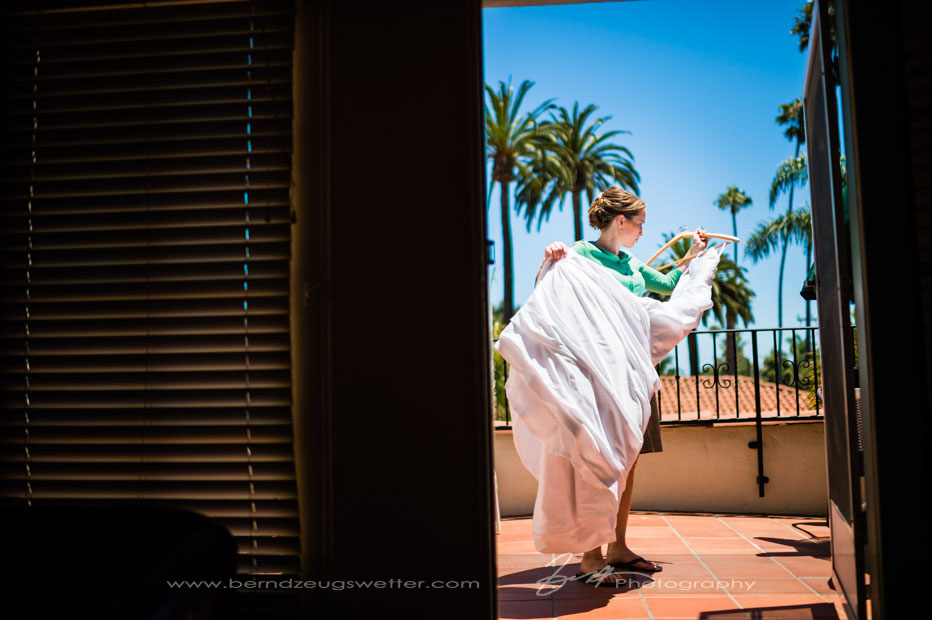 Bride with wedding gown at Eagle Inn, Santa Barbara
