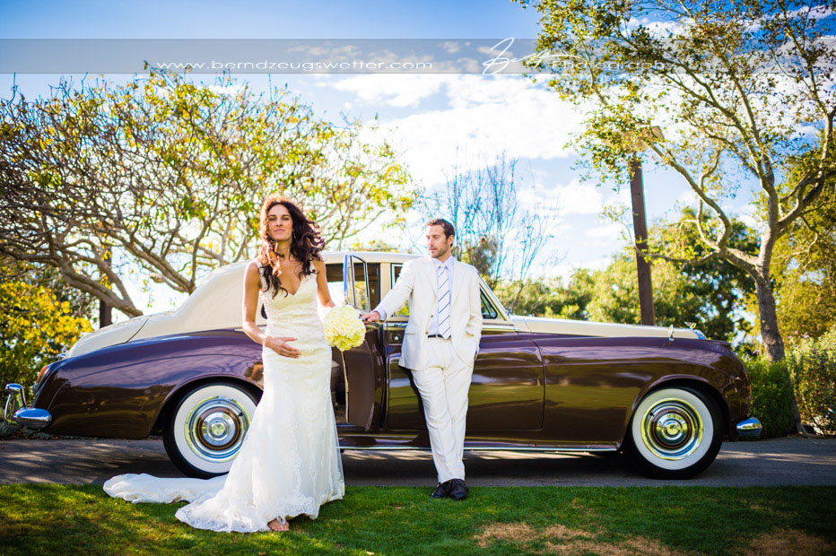 Santa Barbara wedding photography, couple with vintage Bentley at Elings Park.