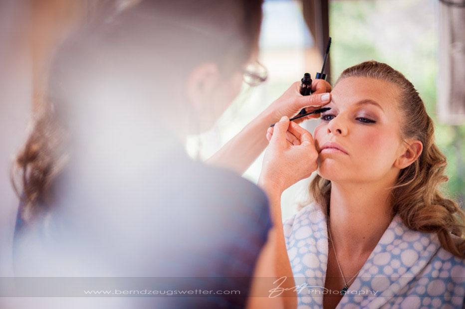 Bride having her make-up done.