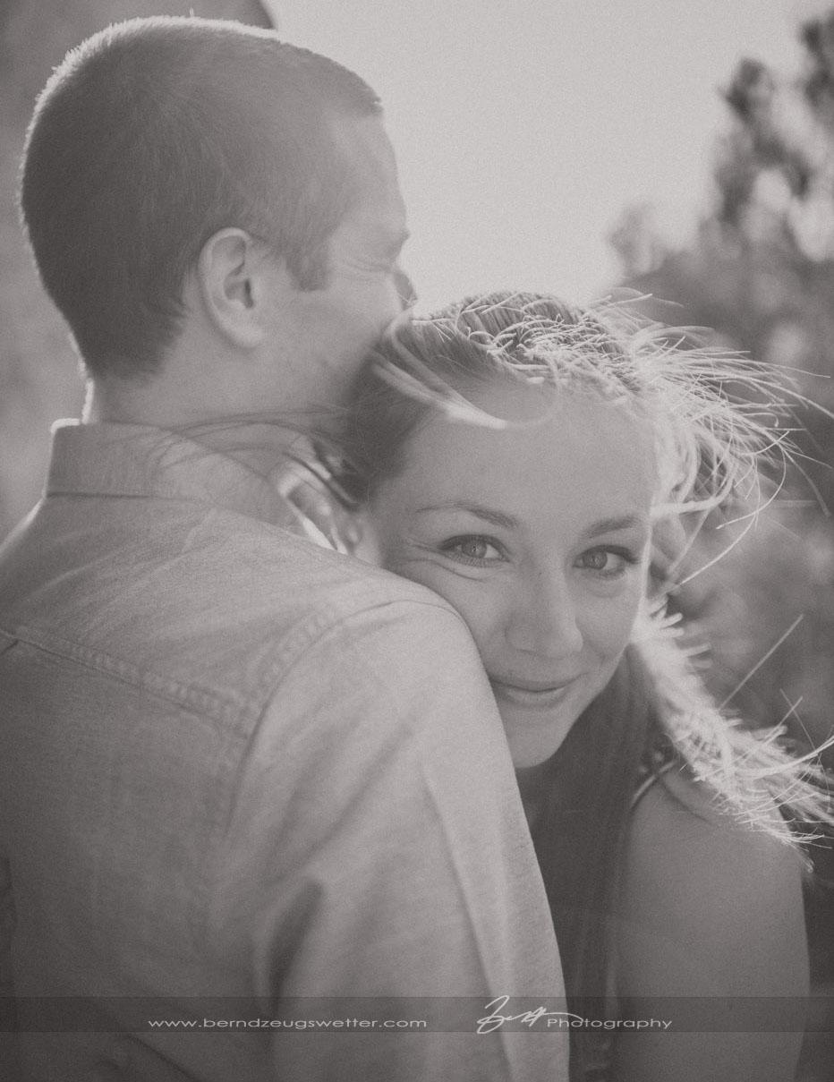 Black and white portrait, engagement session, Santa Barbara.