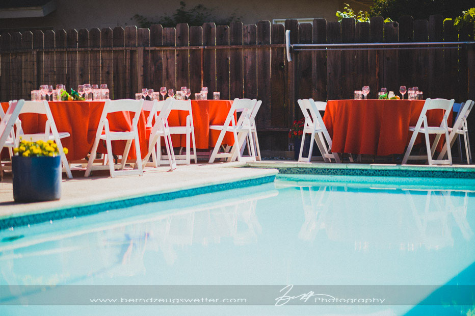 Pool-side wedding reception tables, Goleta.