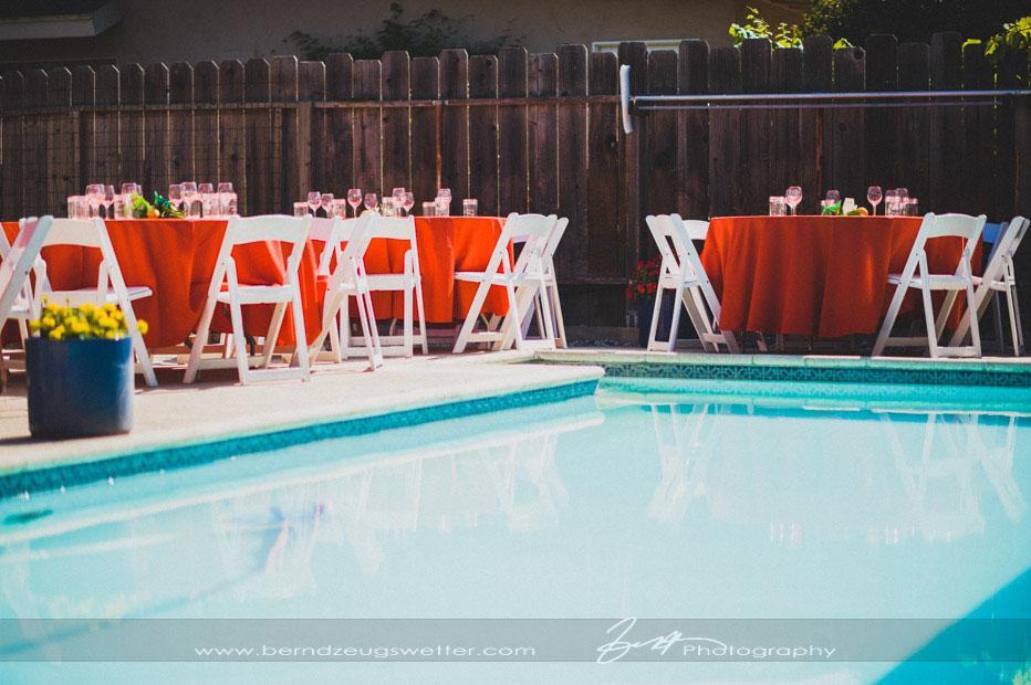 Pool-side wedding reception tables, Goleta.