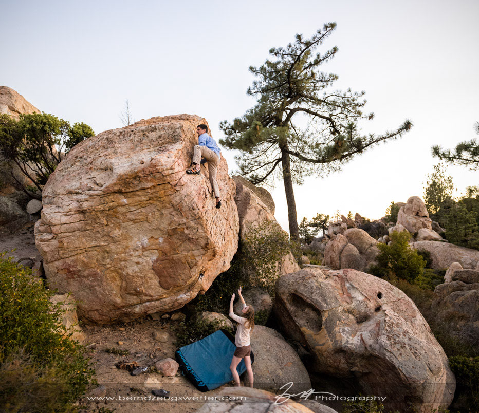 Bouldering engagement session above Santa Barbara.