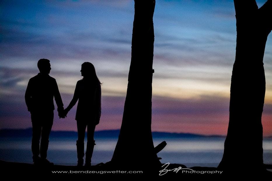 Santa Barbara Engagement Session, Douglas Preserve silhouette.