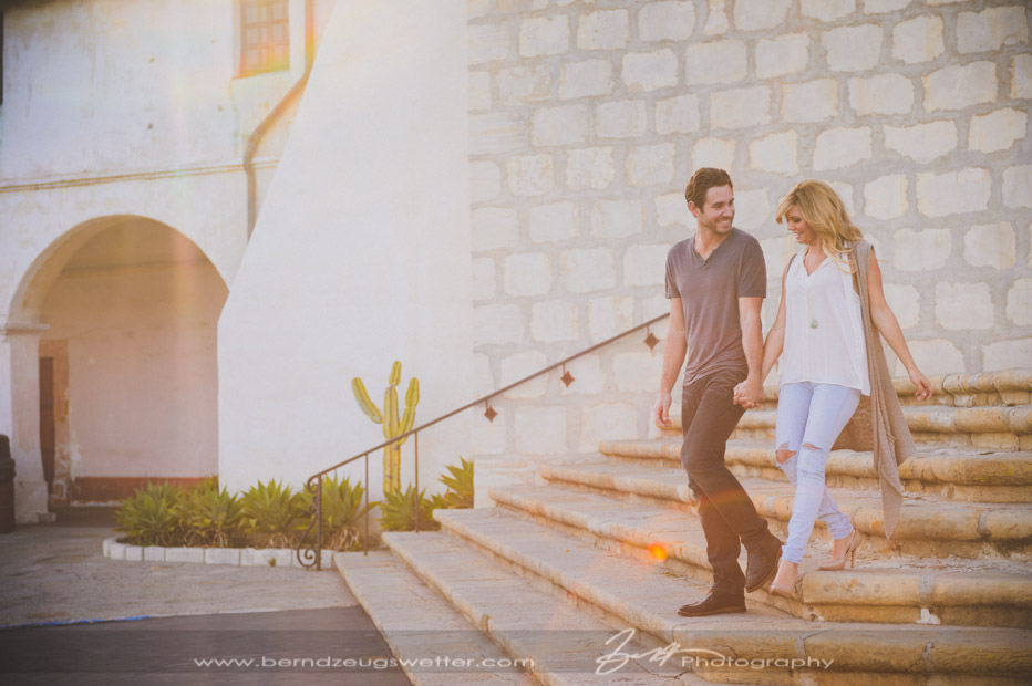 On the steps of the Santa Barbara Mission, Santa Barbara wedding photographers.