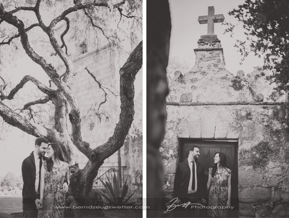 Engagement portraits at the Santa Barbara Mission.