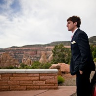 Groom arriving at the wedding site, Colorado National Monument.