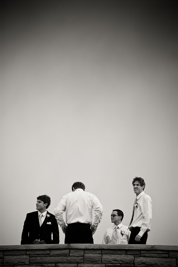 Groom and groomsmen waiting patiently.