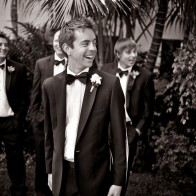 Groom and his groomsmen in the gardens of the Four Seasons Biltmore.