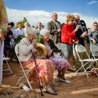 Cute old grandmothers at the wedding ceremony.