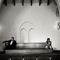 Wedding guests at the First United Methodist Church, Santa Barbara.
