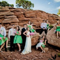 Group portrait of the wedding party at Colorado National Monument.