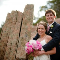 Portrait of the bride and groom with amazing rock formations.