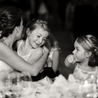 Bride and flowergirls at the wedding reception, Coral Casino, Santa Barbara Biltmore.